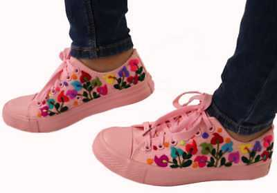Womens Mexican Embroidered Sneakers Size 6 Pink Floral Canvas Tennis Shoes