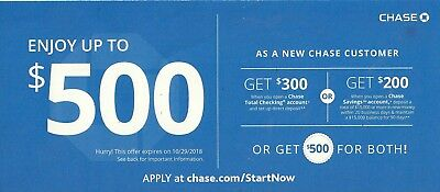Chase $500 total coupon voucher-$300 checking + $200 savings exp.04.02.2019