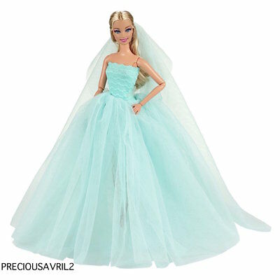 New Barbie doll clothes outfit princess wedding dress gown teal evening gown.