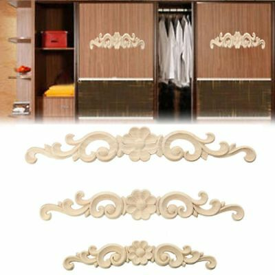 Wooden Figurines Floral Wood Carved Decal Wall Doors Decoration Appliques Frame