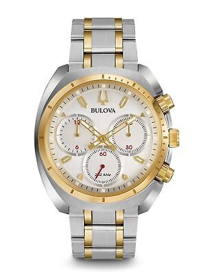 Bulova Curv Chronograph Silver Dial Two-Tone St.steel Men's Watch 98A157 New