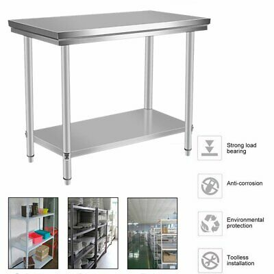 Stainless Steel Home Dining Catering Table Work Bench Kitchen Worktop Backsplash