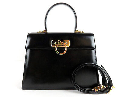 8226c192b102 100% Authentic Salvatore Ferragamo Gancini Black Leather Hand Bag Italy  W Strap