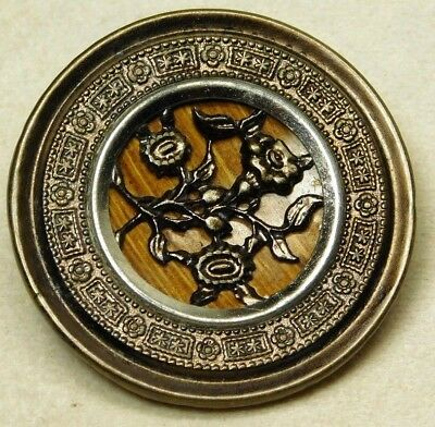 LARGE Antique VTG Button Victorian Morning Glory in Ornate Brass w/Wood Back*D42
