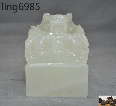 Chinese Afghanistan jade stone Hand-carved Dragon lucky statue seal Stamp signet