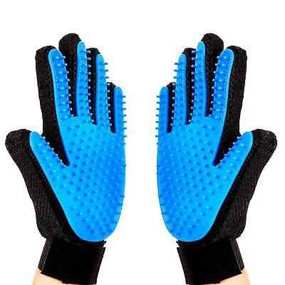 Pair Pet Grooming Glove Brush Dog Cat Fur Hair Removal Mitt Massage Deshedding