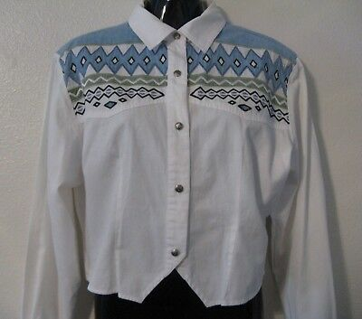 Vintage Woman's Western Fitted Shirt - Size XL - SIDE SADDLE brand