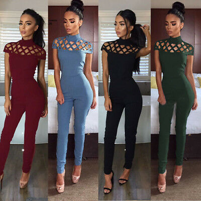 Women Ladies Clubwear Hollow Playsuit Bodycon Party Jumpsuit&Romper Trousers US