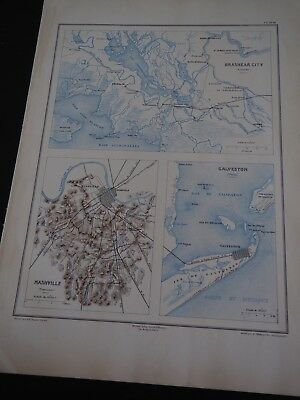 Antique Maps of Civil War Battle Sites in Louisiana, Tennessee and Texas