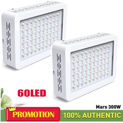 2PCS Hydro 300W LED Grow Light Full Spectrum Veg Bloom Indoor Plant Lamp Panel