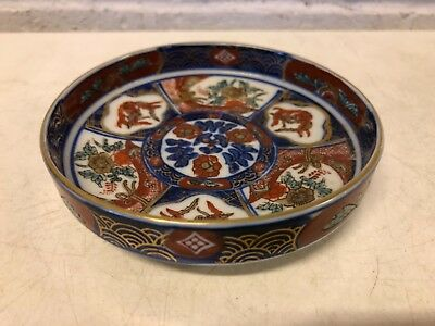 Antique Japanese Imari Porcelain Hand Painted Ashtray with Floral Decorations