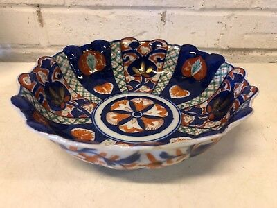 Antique Japanese Imari Hand Painted Porcelain Bowl w/ Scalloped Rim & Floral Dec