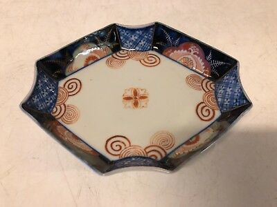 Antique Japanese Imari Porcelain Hand Painted Octagonal Bowl / Ashtray