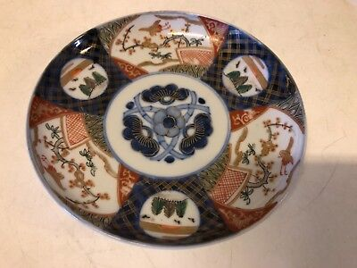 Antique Japanese Imari Hand Painted Porcelain Plate with Swan Scenes