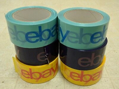"6 Rolls of 2"" x 75 yard Purple, Blue, and Yellow eBay-Branded Packaging Tape"