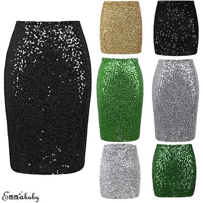 Women Sequin Skirt Stretch Bodycon Sparkle Mini Skirt Night Out Party Long Dress