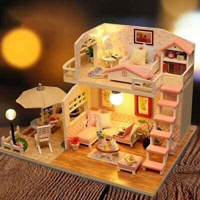 DIY Handcrafted Dollhouse Toy Wooden Miniature Kit LED Light Kids Decor Gift