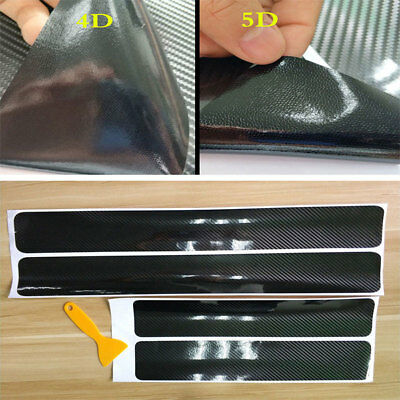 5D Carbon Fiber Car Scuff Plate Door Sill Cover Panel Step Protector Accessorie!