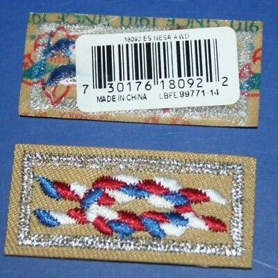 BSA NESA Life Member Eagle Square Knot Patch Official Silver Mylar