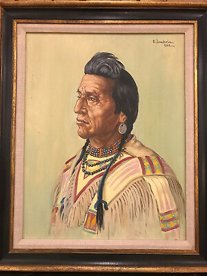 """Rare Painting of Native American """"Two Guns White Calf"""" by Elizabeth Lochrie"""