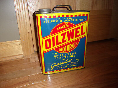 Original Oilzwel Motor Oil 2 Gallon Metal Can, Gas Station Display, Petroliana