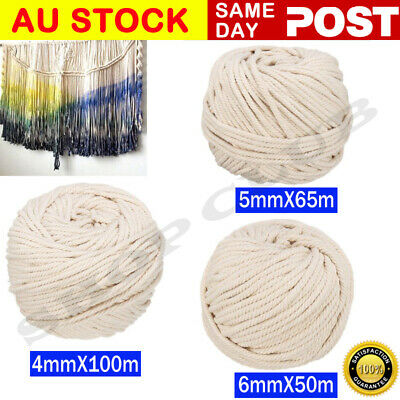 4/5/6mm Macrame Rope Natural Beige Cotton Twisted Cord Artisan Hand Craft Decor