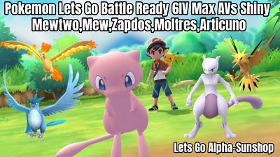 Shiny Mewtwo Mew Pokemon Lets Go Pikachu Eevee All x5 Legendary Pokemon 6IV/AV