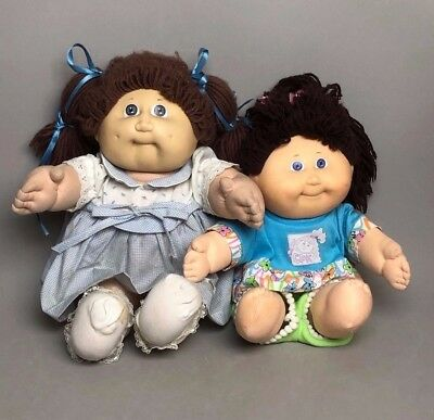 "2 Cabbage Patch kids dolls, 1978 15"" Brown Hair Blue Eyes and 12"" Doll"