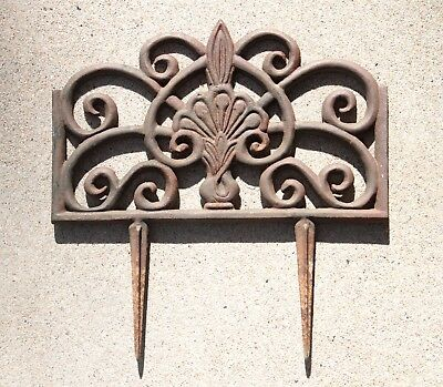 Vintage Cast Iron Garden Lawn Edgers, Rusty Patina, 14 x 9 Inches