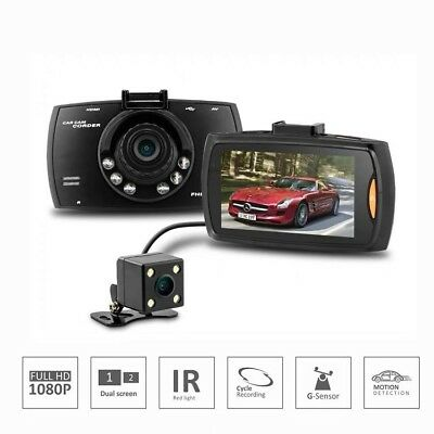 "1080P 2.7"" HD LCD Car Dash Camera Video DVR Cam Recorder Dual Lens Night Vision"