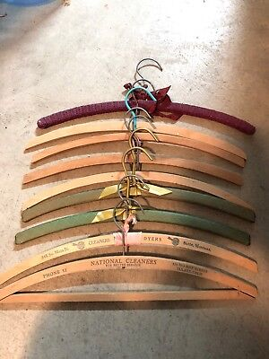 Vintage Wooden Hangers Advertisement Cleaners Padded Lot Of 9