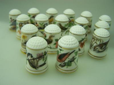 Collection of 1979 Franklin Mint porcelain thimbles with bird motiff