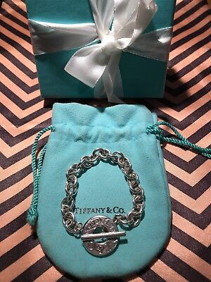 Tiffany & Co Sterling Silver T&CO Circle Clasp 1837 Toggle Bracelet W/ Box&pouch
