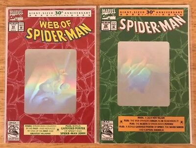 Web Of Spider-Man #90 & Spider-Man #26 30th Anniversary Hologram Special Covers