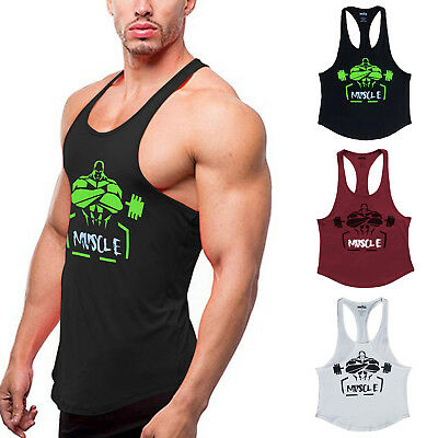 1e110b500 Men's Muscle Bodybuilding Singket Tank Tops Cotton Racerback T Shirt Workout