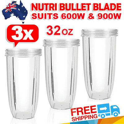3X NUTRIBULLET BIG COLOSSAL LARGE TALL CUP 32OZ Clear - Nutri Bullet 600 & 900W