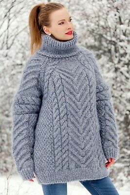 276174b6d928 Grey mohair sweater thick fuzzy wool hand knitted turtleneck gray pullover  SALE
