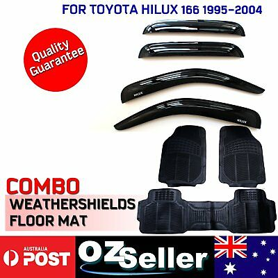 Weathershields Weather Shield & Rubber Floor Mats For Toyota Hilux 166 Ute 95-04