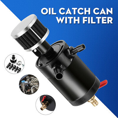 2-Port Universal Billet Aluminum Baffled Oil Catch Can Tank Oil Filter Separator