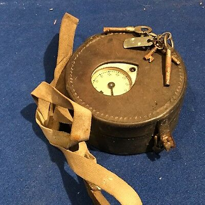 pigeon clock, small leather cased early 20th century