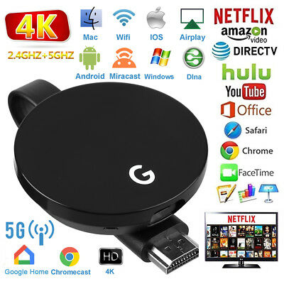 pour Google Chromecast 3 4K 2.4G+5G HDMI WiFi Media Vidéo Dongle youtube Netflix