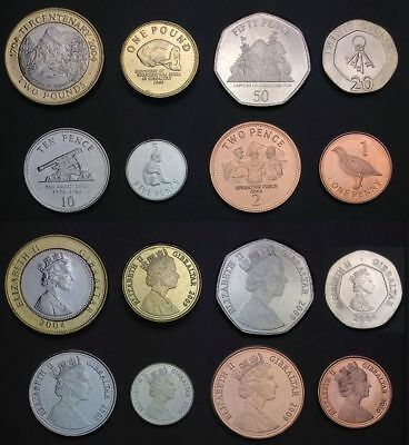 GIBRALTAR FULL COIN SET 1+2+5+10+20+50 Pence +1+2 Pounds 2004-2010 UNC LOT of 8
