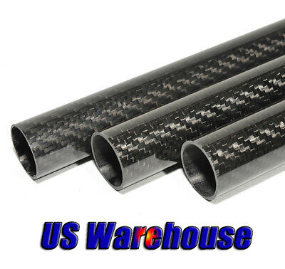 1-2pcs 3K Carbon Fiber Tube OD12mm x ID10mm x L500mm L1000mm Rolled Model Rod US