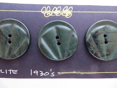1930s Vintage Med Deco Marbled Black Green Coat Dress Collectible Buttons-28mm