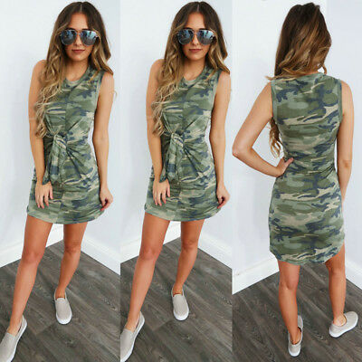 AU Womens Camouflage Sleeveless Vest Slim Dress Ladies Bodycon Bandage Dress6-16