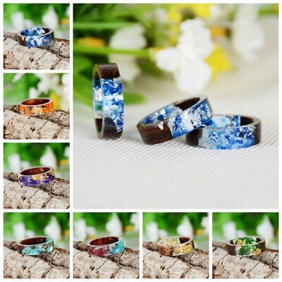 Simple Women Handmade Wood Resin Flower Plants Finger Ring Jewelry Decor Preciou