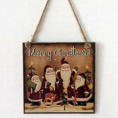 Christmas Party Decoration Holiday Wooden Plaque Wall Sign Hanging Board KQ