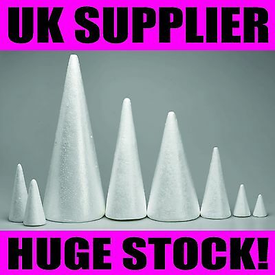 POLYSTYRENE CONES Sweet Wedding Tree Floral Cake Craft VARIOUS SIZES UK SUPPLIED
