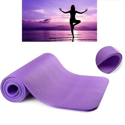 Purple Yoga Mat With Carry Bag Thick Non Slip Physio Pilates Gym Sports Class