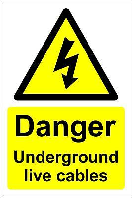 Danger underground live cables electricity Safety sign